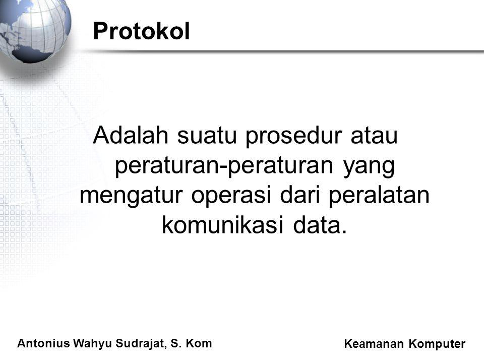 Protokol Adalah suatu prosedur atau peraturan-peraturan yang mengatur operasi dari peralatan komunikasi data.