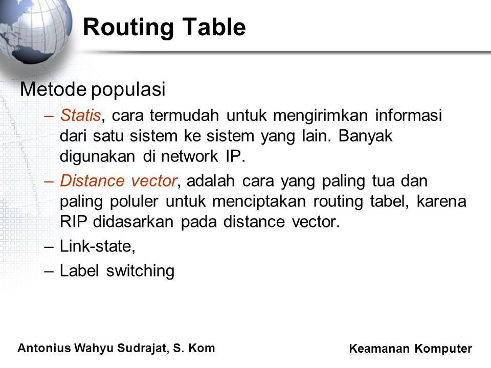 Routing Table Metode populasi