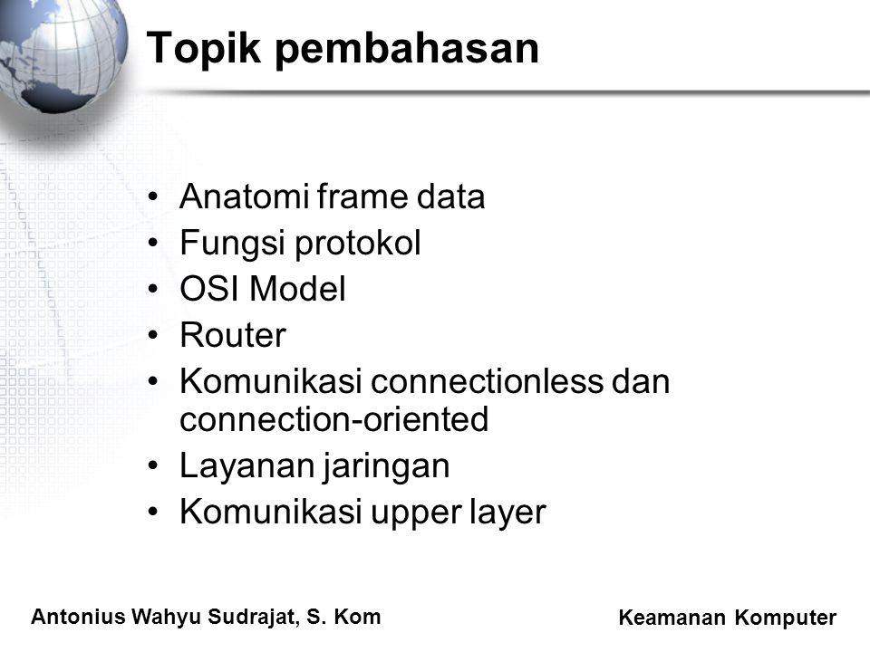 Topik pembahasan Anatomi frame data Fungsi protokol OSI Model Router