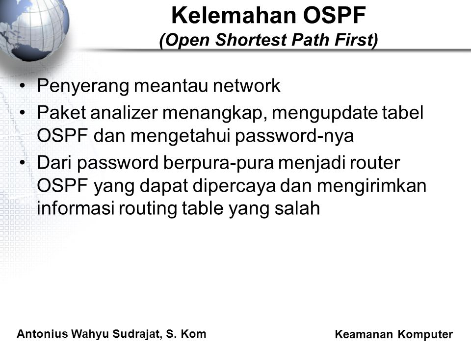 Kelemahan OSPF (Open Shortest Path First)