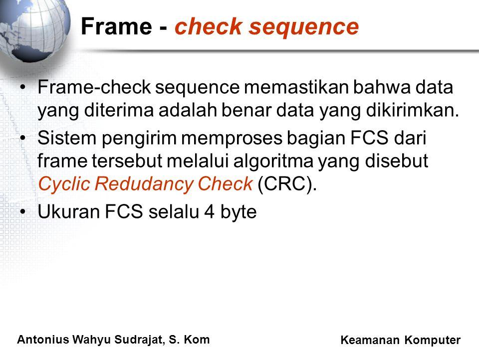 Frame - check sequence Frame-check sequence memastikan bahwa data yang diterima adalah benar data yang dikirimkan.