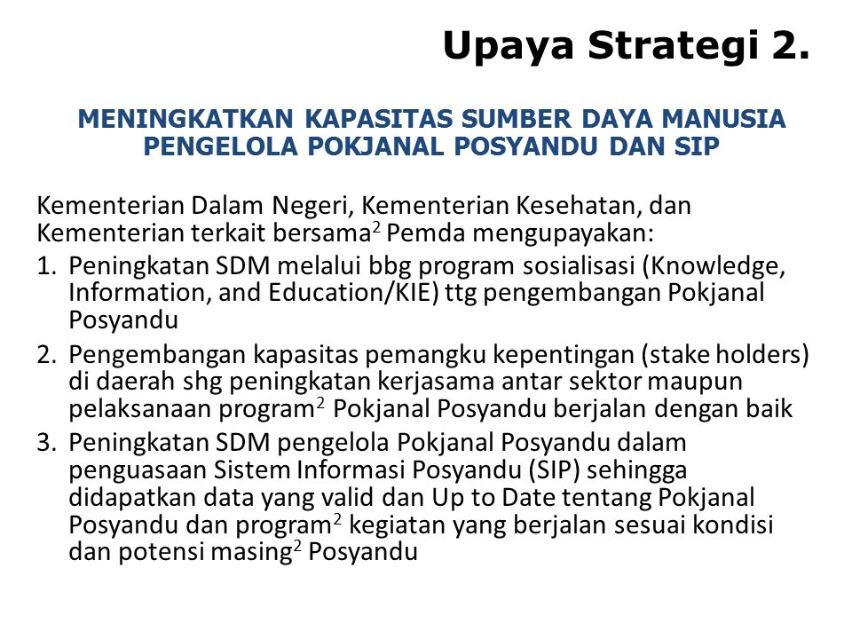 Upaya Strategi 2. Kementerian Dalam Negeri, Kementerian Kesehatan, dan