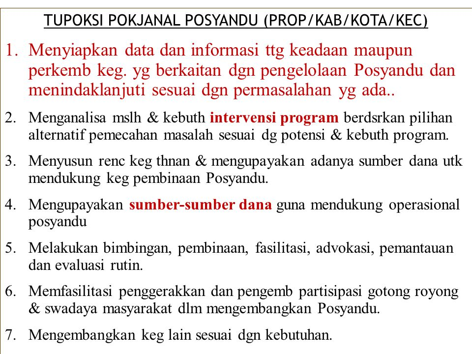 TUPOKSI POKJANAL POSYANDU (PROP/KAB/KOTA/KEC)