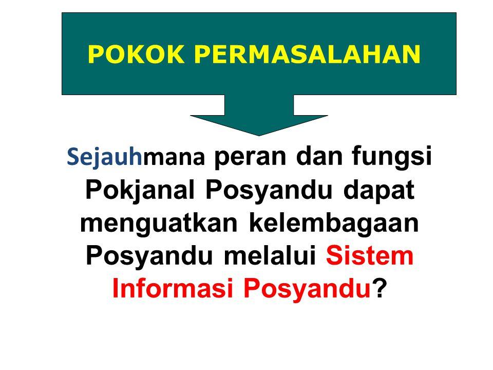 POKOK PERMASALAHAN Sejauhmana peran dan fungsi Pokjanal Posyandu dapat menguatkan kelembagaan Posyandu melalui Sistem Informasi Posyandu