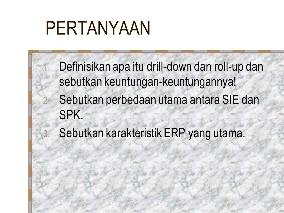 PERTANYAAN Definisikan apa itu drill-down dan roll-up dan sebutkan keuntungan-keuntungannya! Sebutkan perbedaan utama antara SIE dan SPK.