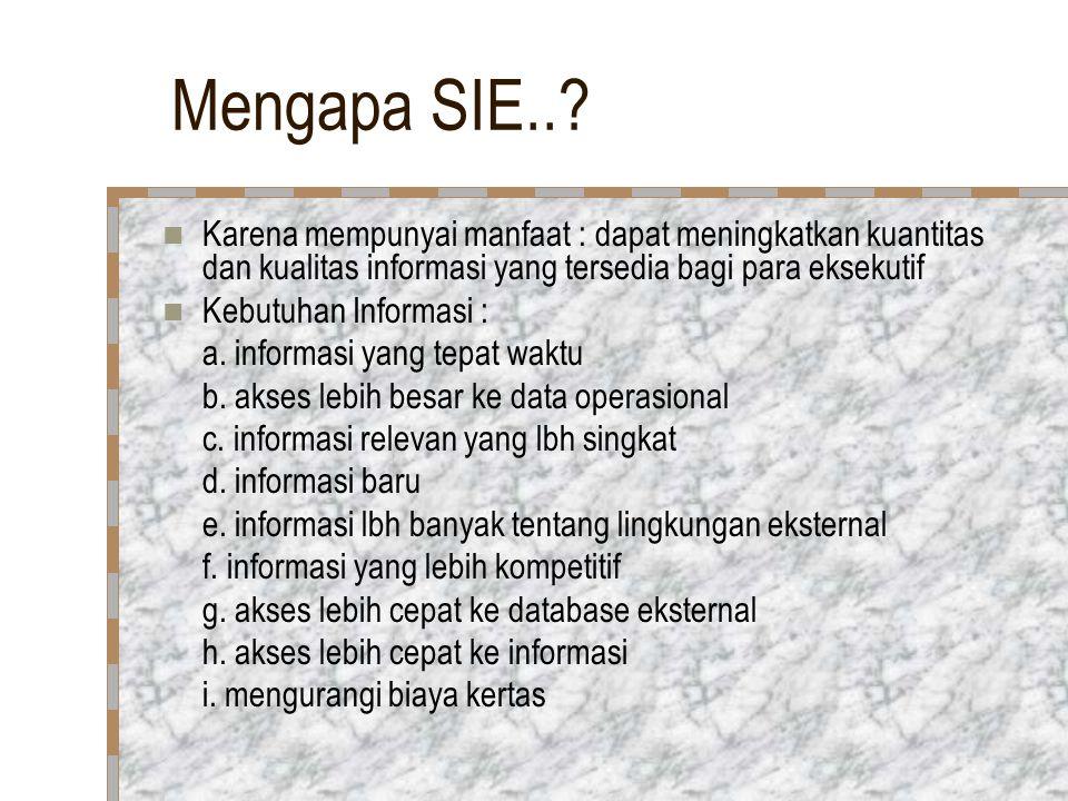 Mengapa SIE.. Karena mempunyai manfaat : dapat meningkatkan kuantitas dan kualitas informasi yang tersedia bagi para eksekutif.