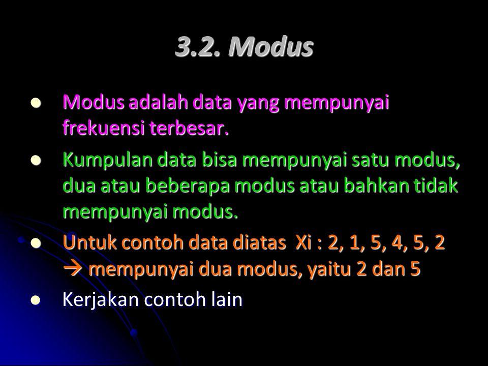 3.2. Modus Modus adalah data yang mempunyai frekuensi terbesar.