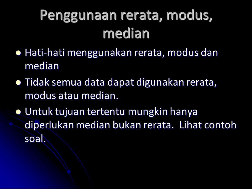 Penggunaan rerata, modus, median