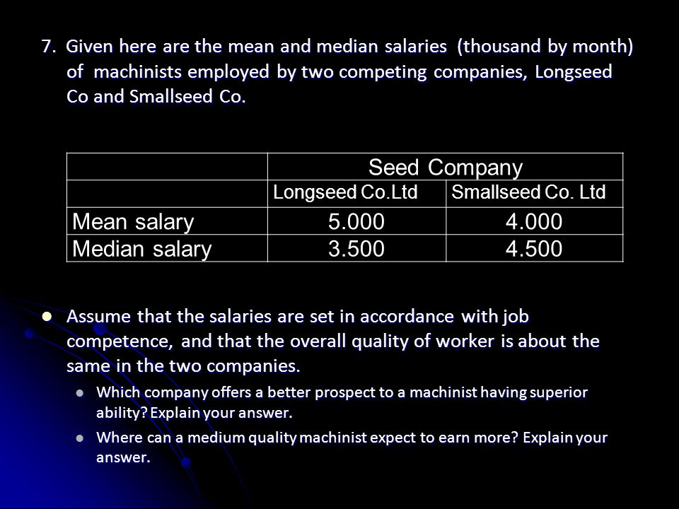 Seed Company Mean salary 5.000 4.000 Median salary 3.500 4.500