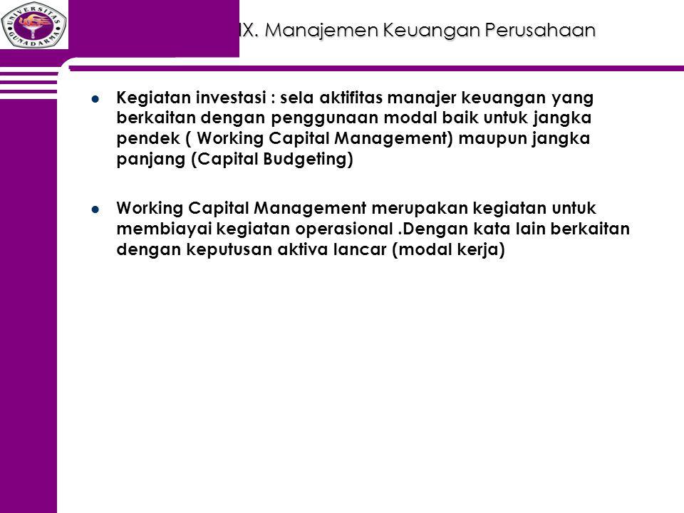 IX. Manajemen Keuangan Perusahaan