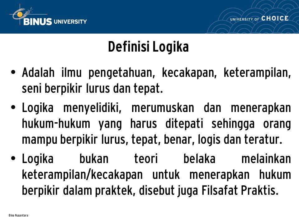 Definisi Logika Adalah ilmu pengetahuan, kecakapan, keterampilan, seni berpikir lurus dan tepat.