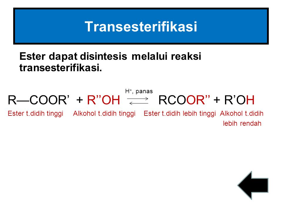 Transesterifikasi R—COOR' + R''OH RCOOR'' + R'OH