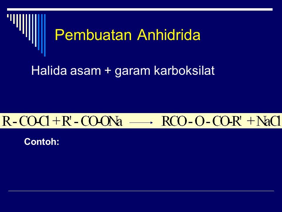 Pembuatan Anhidrida Halida asam + garam karboksilat Contoh: