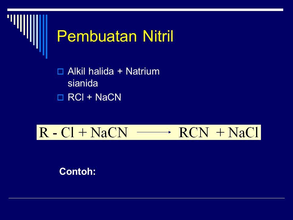Pembuatan Nitril Alkil halida + Natrium sianida RCl + NaCN Contoh:
