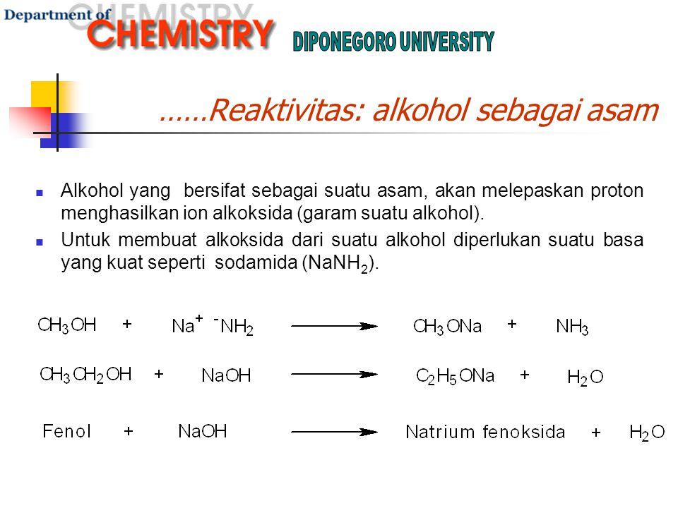 ……Reaktivitas: alkohol sebagai asam