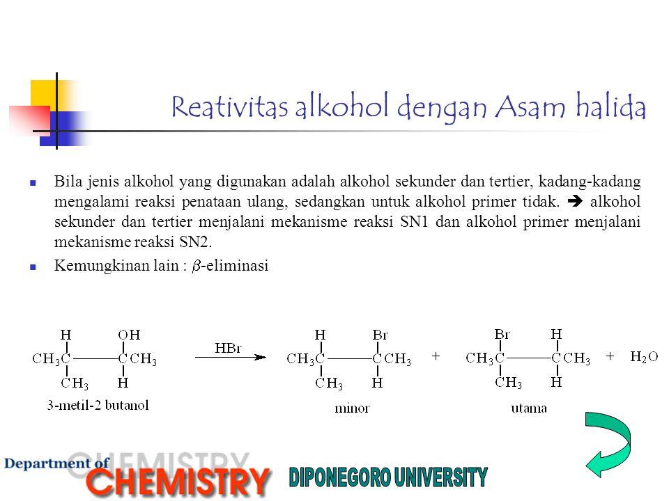 Reativitas alkohol dengan Asam halida
