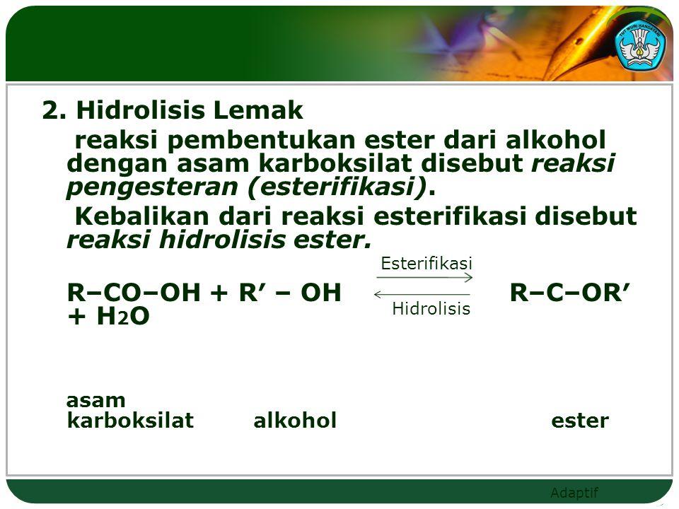 2. Hidrolisis Lemak reaksi pembentukan ester dari alkohol dengan asam karboksilat disebut reaksi pengesteran (esterifikasi). Kebalikan dari reaksi esterifikasi disebut reaksi hidrolisis ester. R–CO–OH + R′ – OH R–C–OR′ + H2O asam karboksilat alkohol ester
