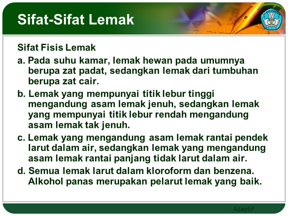 Sifat-Sifat Lemak