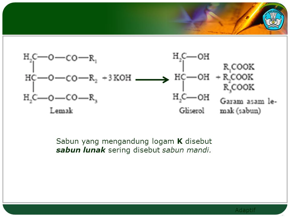 Sabun yang mengandung logam K disebut sabun lunak sering disebut sabun mandi.