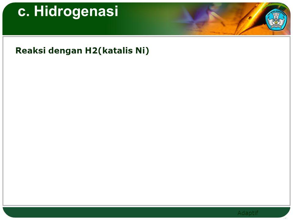 c. Hidrogenasi Reaksi dengan H2(katalis Ni)
