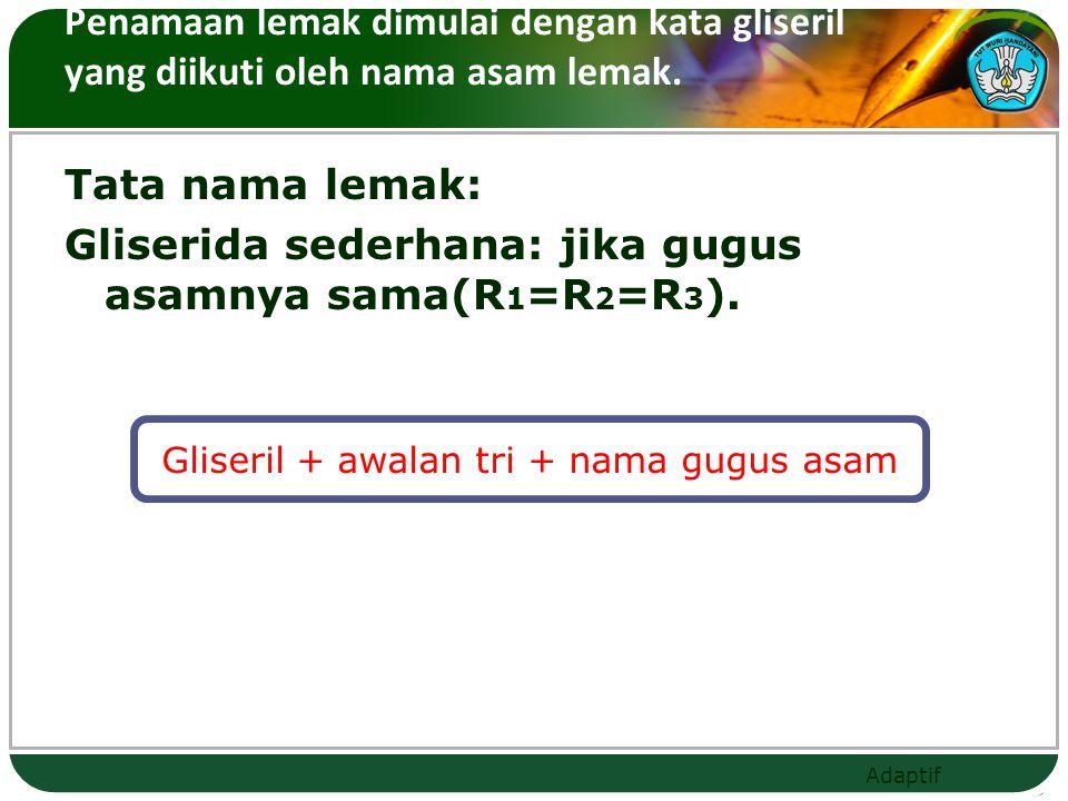Gliseril + awalan tri + nama gugus asam