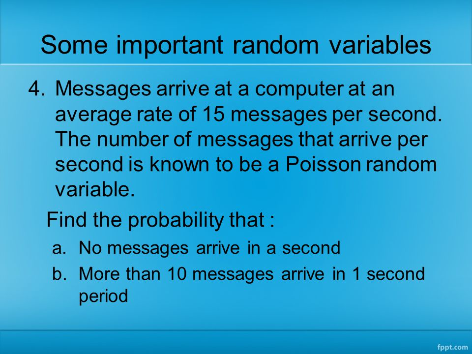 Some important random variables