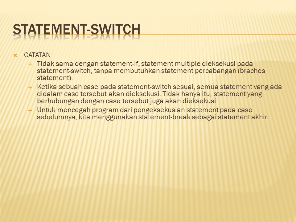 statement-switch CATATAN: