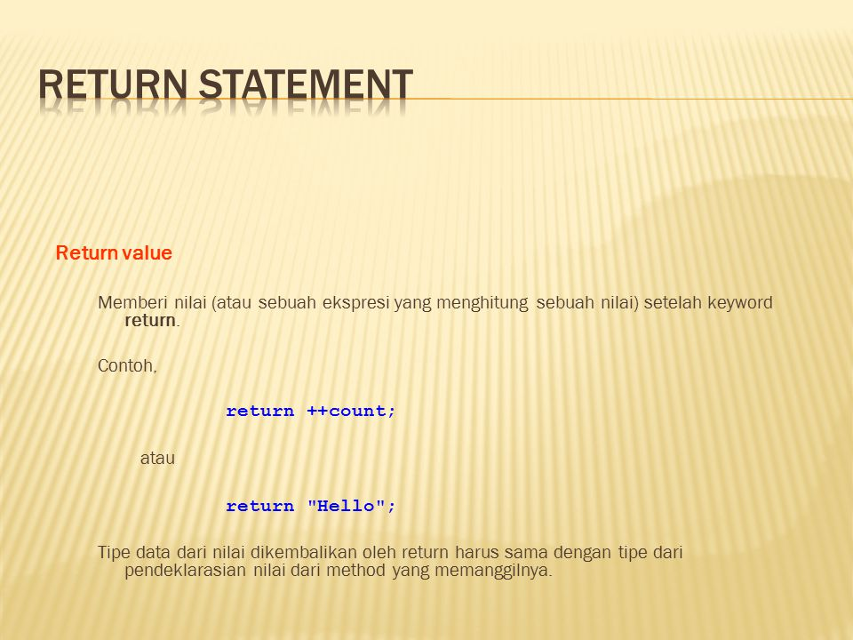 Return statement Return value