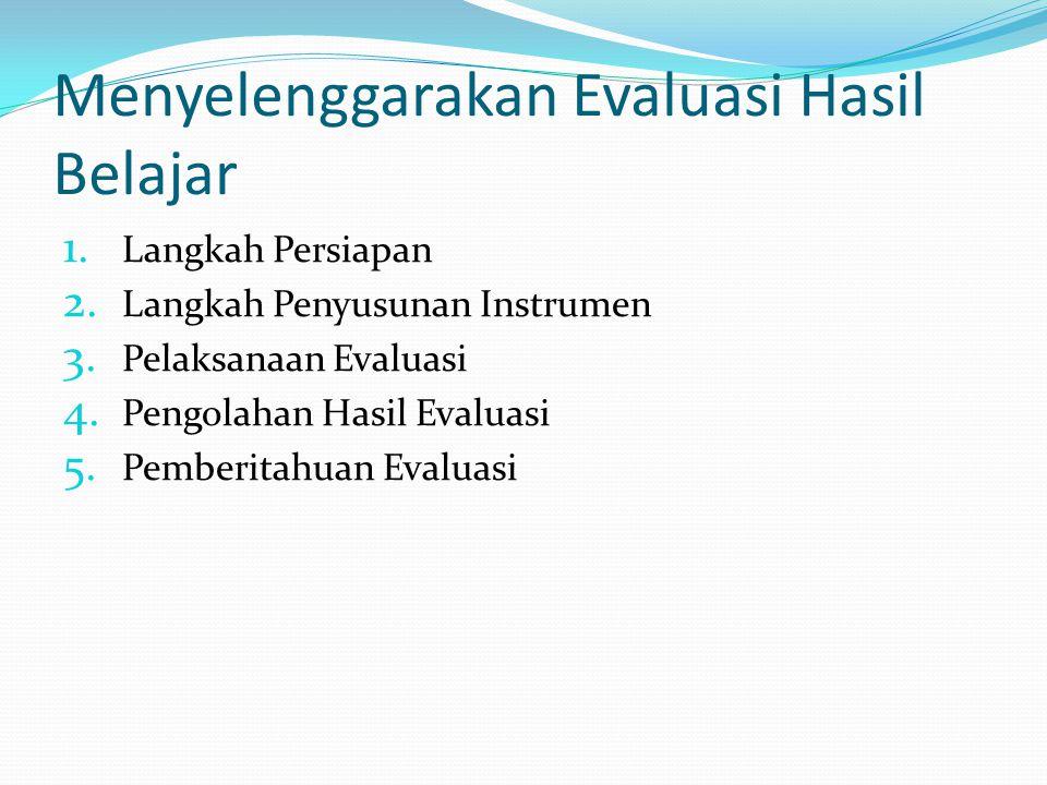 Menyelenggarakan Evaluasi Hasil Belajar