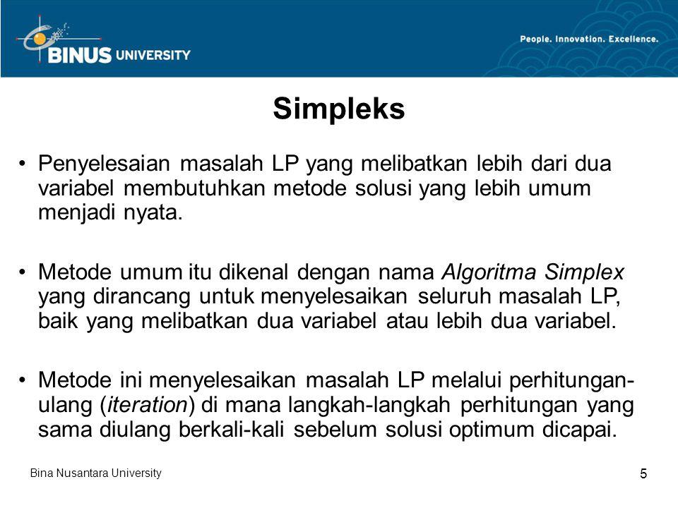 Simpleks Penyelesaian masalah LP yang melibatkan lebih dari dua variabel membutuhkan metode solusi yang lebih umum menjadi nyata.