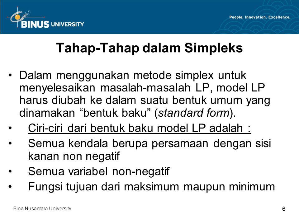 Tahap-Tahap dalam Simpleks