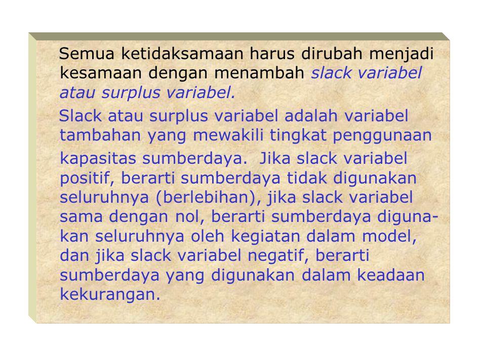 Semua ketidaksamaan harus dirubah menjadi kesamaan dengan menambah slack variabel atau surplus variabel.