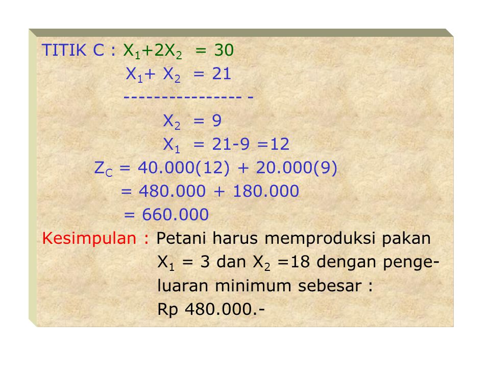 TITIK C : X1+2X2 = 30 X1+ X2 = 21. ---------------- - X2 = 9. X1 = 21-9 =12. ZC = 40.000(12) + 20.000(9)