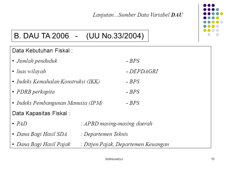 B. DAU TA 2006 - (UU No.33/2004) Lanjutan…Sumber Data Variabel DAU