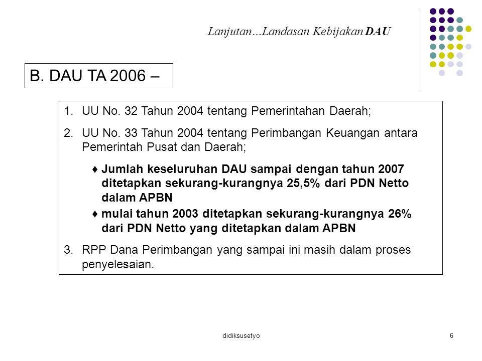 B. DAU TA 2006 – Lanjutan…Landasan Kebijakan DAU