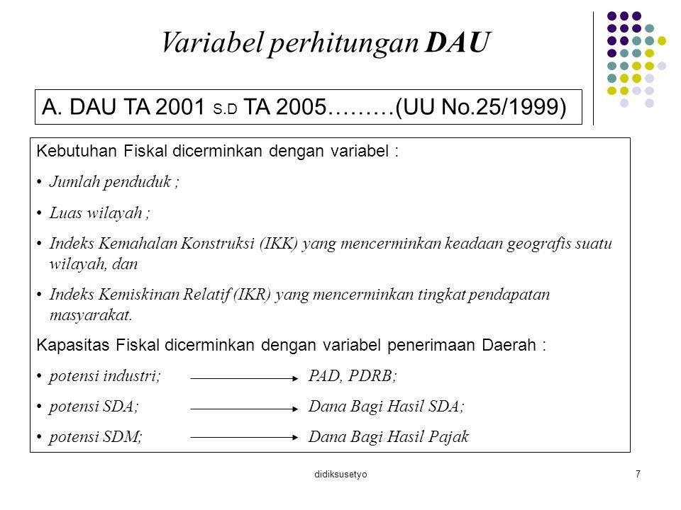 Variabel perhitungan DAU