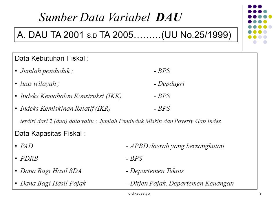 Sumber Data Variabel DAU
