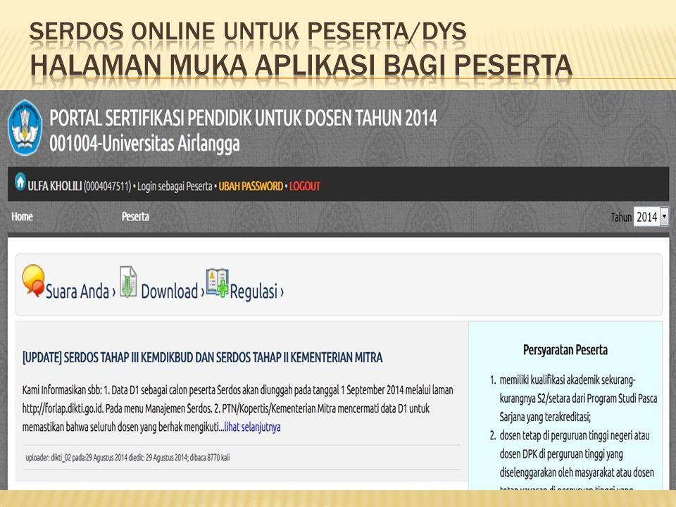 SERDOS ONLINE UNTUK Peserta/dys halaman muka aplikasi bagi peserta