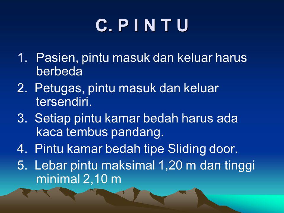 C. P I N T U Pasien, pintu masuk dan keluar harus berbeda