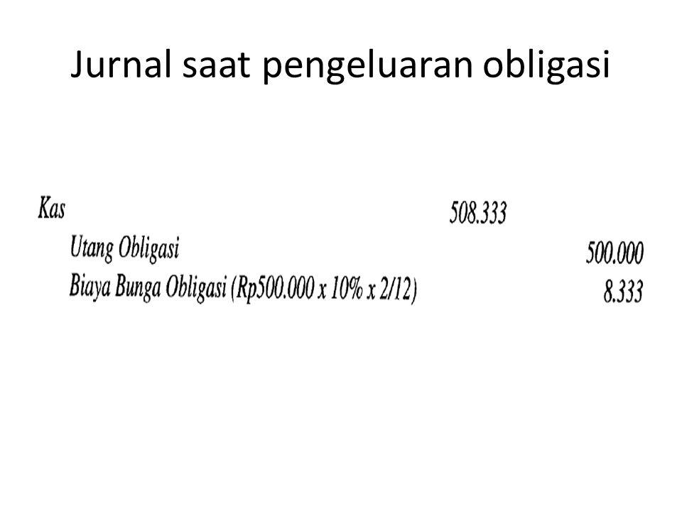 Jurnal saat pengeluaran obligasi