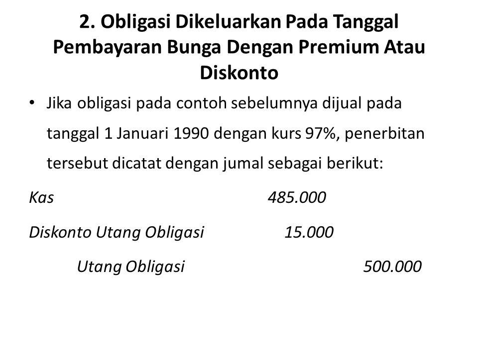 2. Obligasi Dikeluarkan Pada Tanggal Pembayaran Bunga Dengan Premium Atau Diskonto