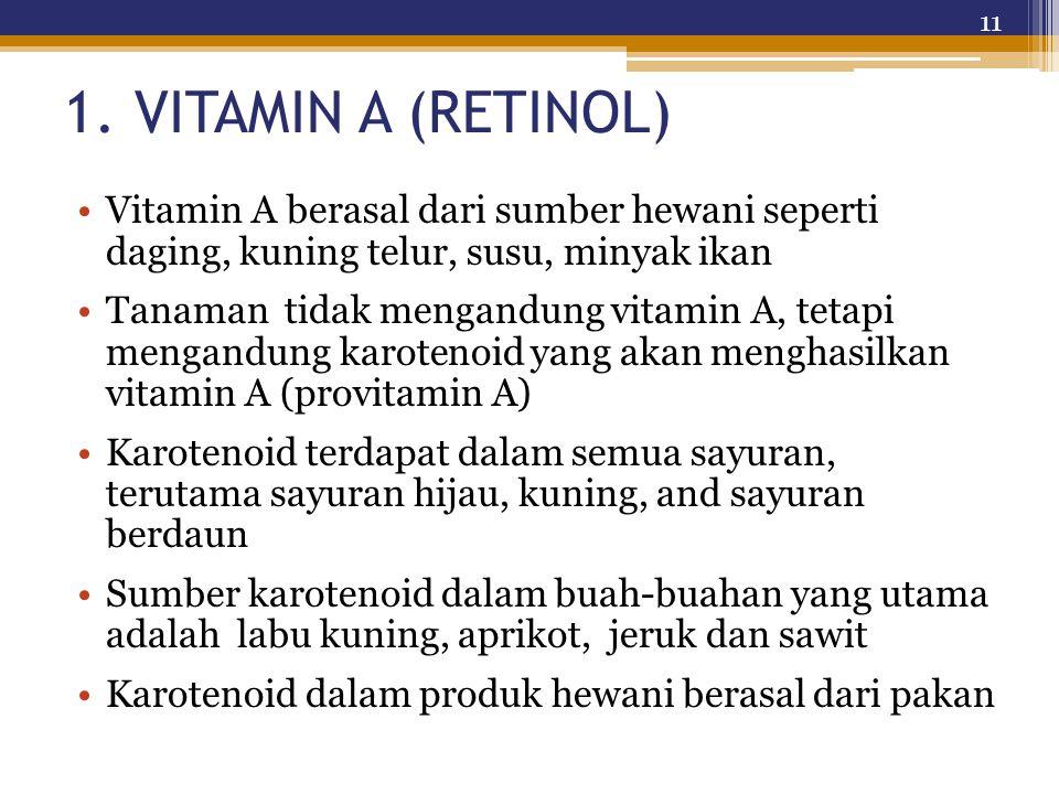 1. VITAMIN A (RETINOL) Vitamin A berasal dari sumber hewani seperti daging, kuning telur, susu, minyak ikan.