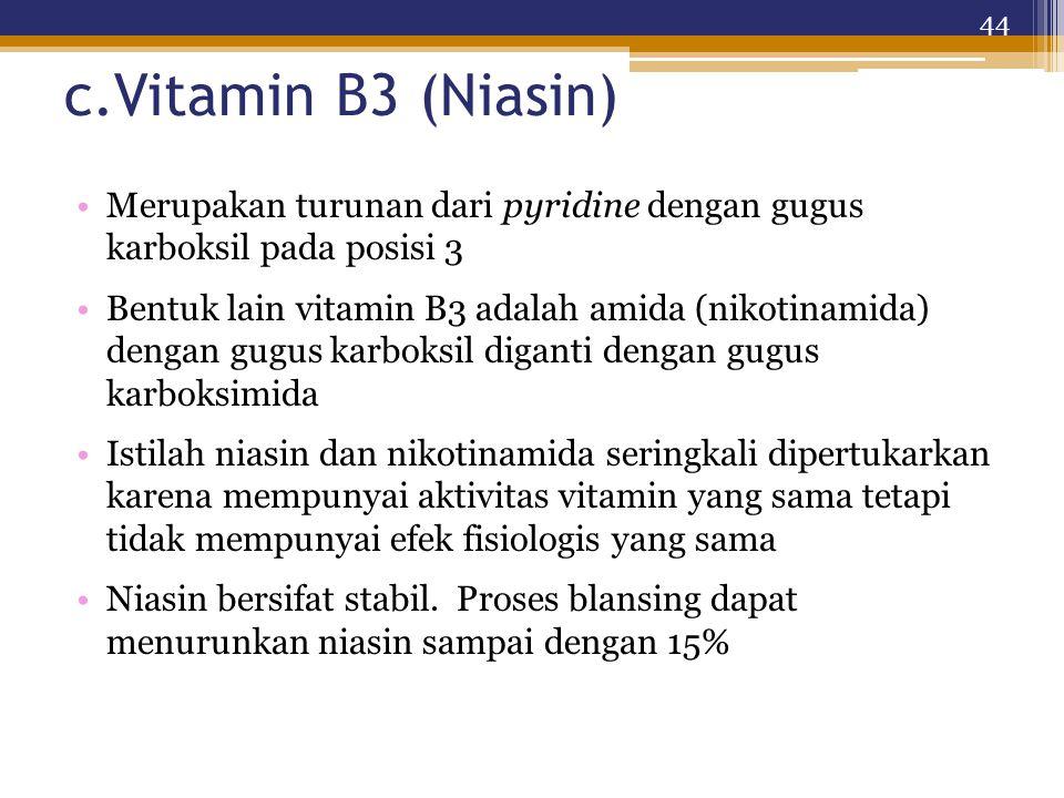c.Vitamin B3 (Niasin) Merupakan turunan dari pyridine dengan gugus karboksil pada posisi 3.
