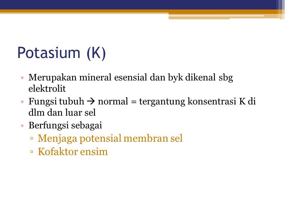 Potasium (K) Menjaga potensial membran sel Kofaktor ensim