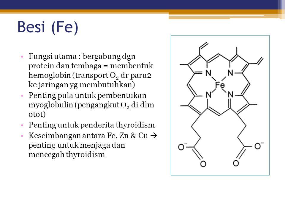 Besi (Fe) Fungsi utama : bergabung dgn protein dan tembaga = membentuk hemoglobin (transport O2 dr paru2 ke jaringan yg membutuhkan)