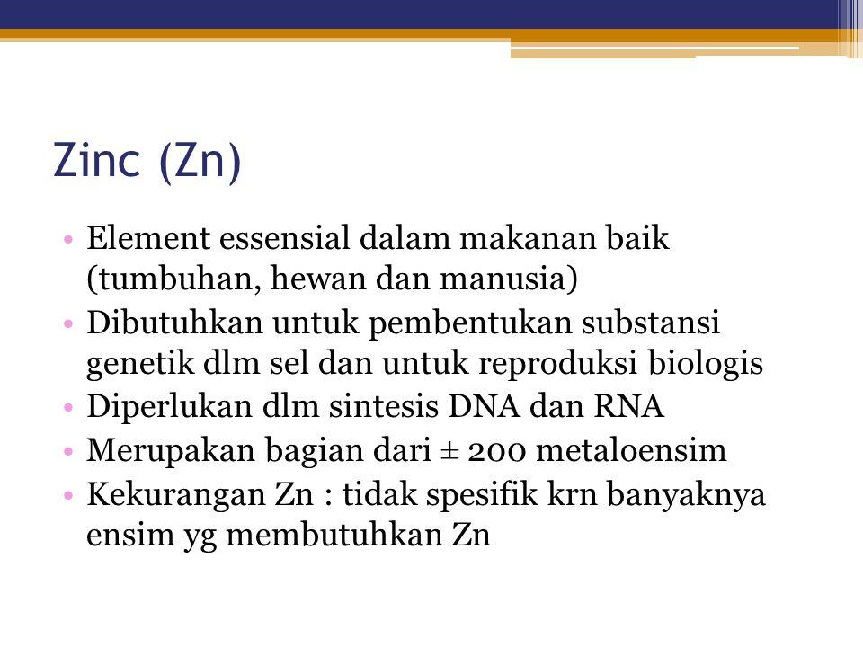 Zinc (Zn) Element essensial dalam makanan baik (tumbuhan, hewan dan manusia)