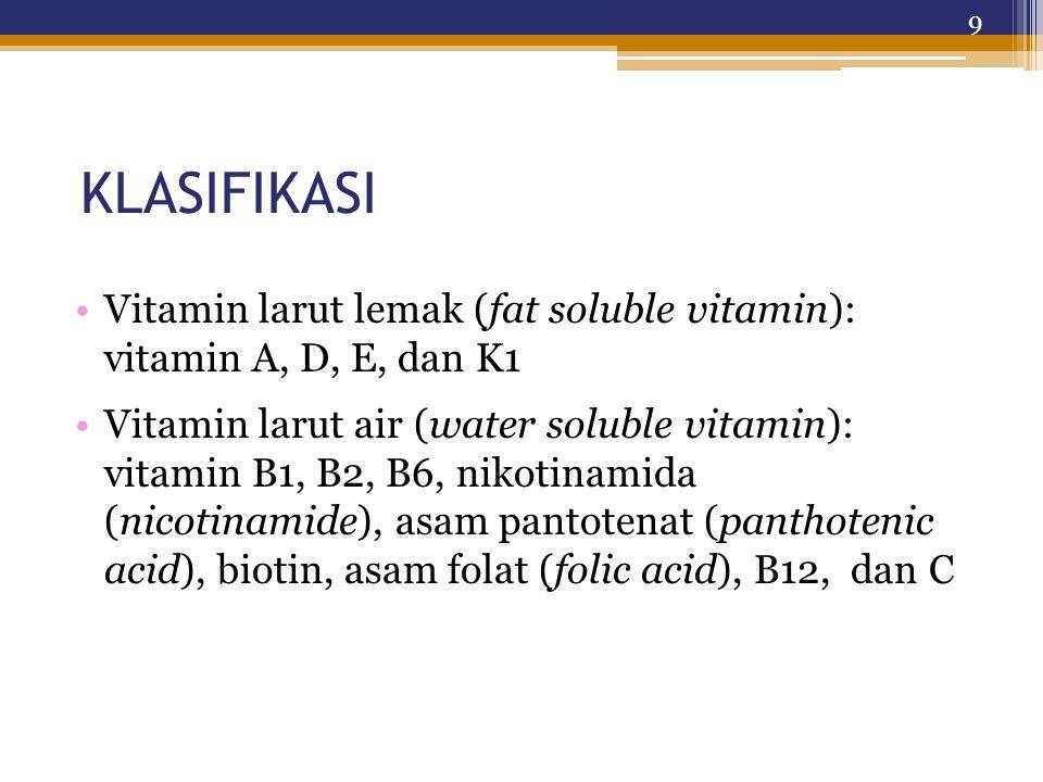 KLASIFIKASI Vitamin larut lemak (fat soluble vitamin): vitamin A, D, E, dan K1.