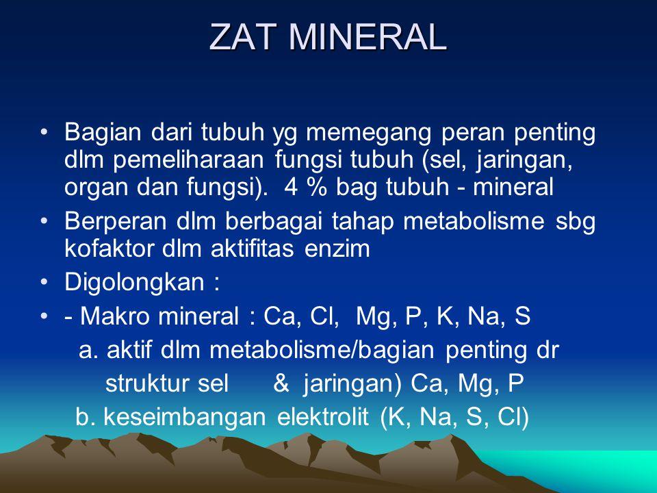ZAT MINERAL Bagian dari tubuh yg memegang peran penting dlm pemeliharaan fungsi tubuh (sel, jaringan, organ dan fungsi). 4 % bag tubuh - mineral.
