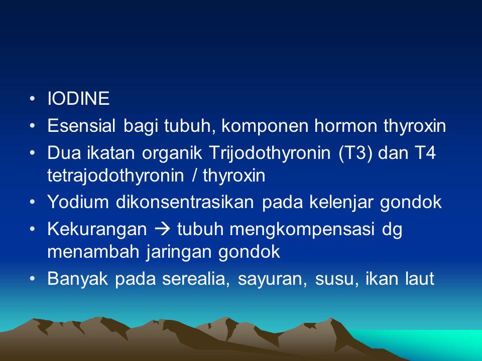 IODINE Esensial bagi tubuh, komponen hormon thyroxin. Dua ikatan organik Trijodothyronin (T3) dan T4 tetrajodothyronin / thyroxin.