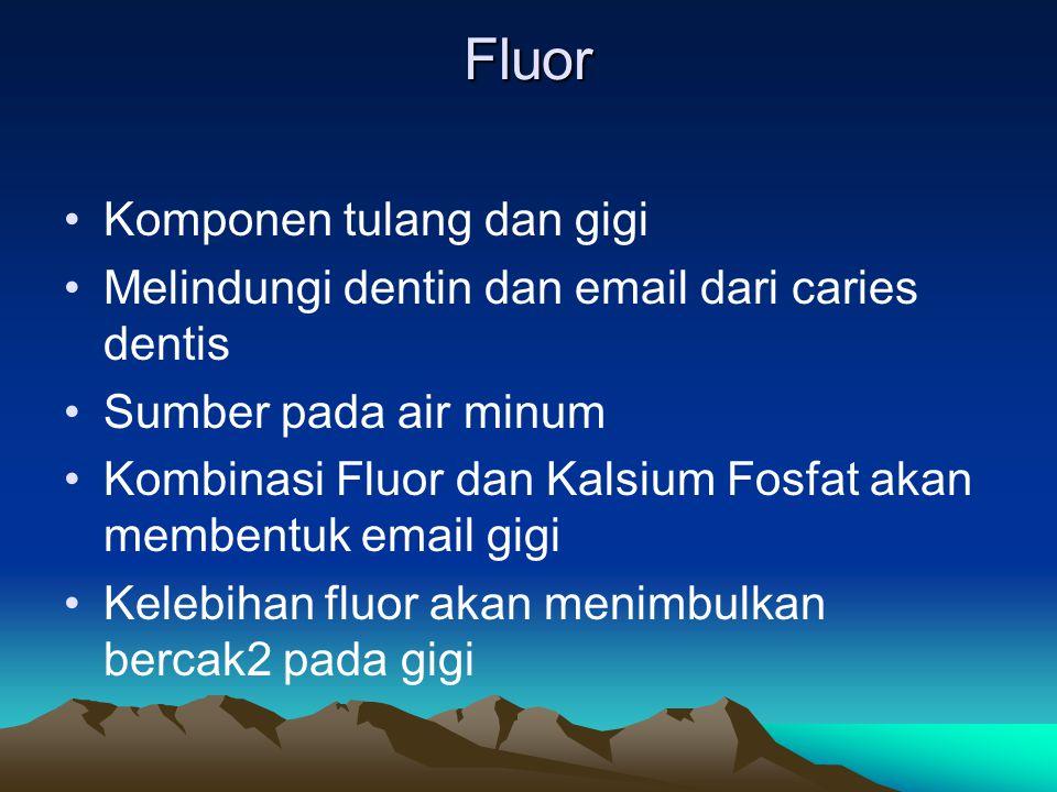 Fluor Komponen tulang dan gigi
